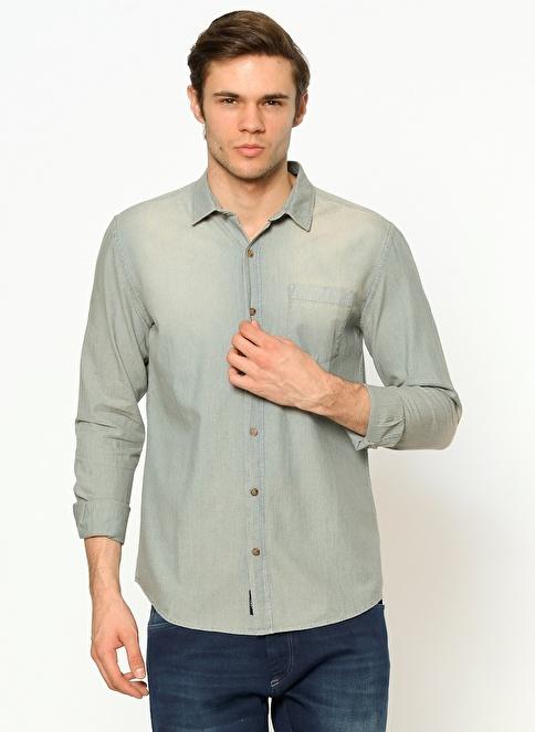 Mavi Tek Cep Gömlek İndigo